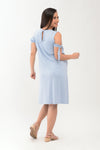Cold Shoulder Knit Maternity Shift Dress - Light Blue (DRS 189)