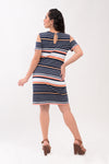 Cold Shoulder Maternity Knit Dress - Orange Stripes (DRS 177)