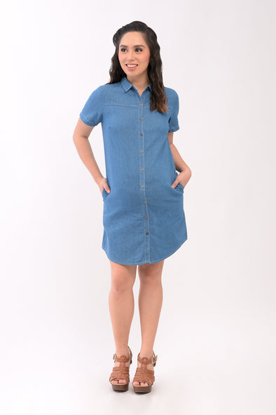Chambray Maternity Shirt Dress - Denim (DRS 184A)