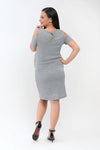 Cold Shoulder Maternity Knit Dress - Light Gray (DRS 177A)