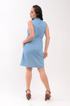 Collared Sleeveless Button Down Maternity Dress - Light Denim Blue (DRS 124B)
