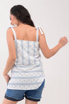 Printed Spaghetti Nursing Top - Light Blue/White Printed (GNST 031)