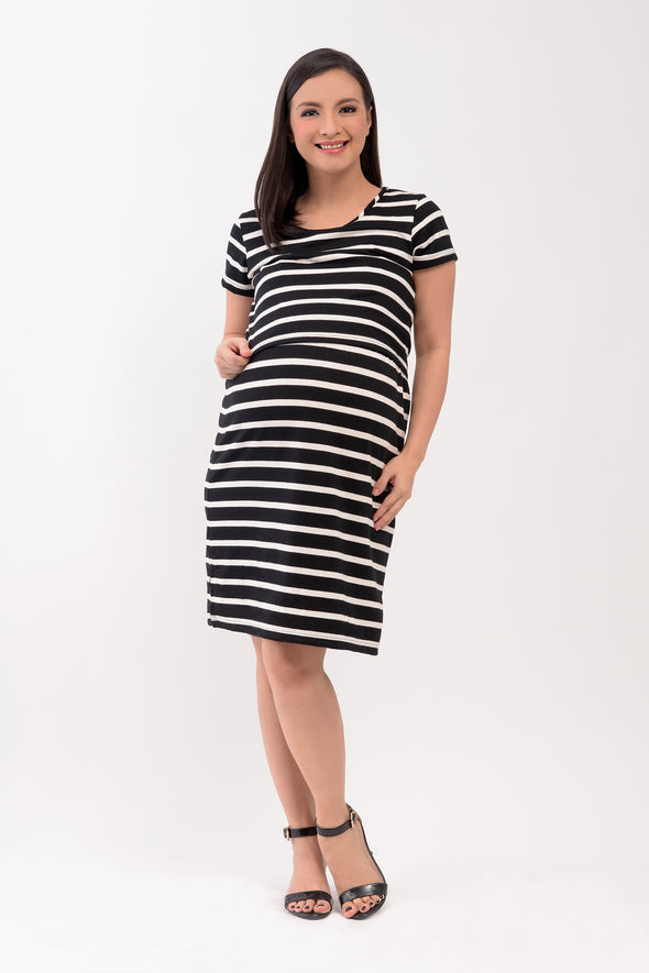 Striped Knit Nursing Dress - Black Stripes (GNSD 012A)