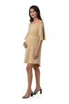 Off-Shoulder Dress with Slit Sleeves - Tan (DRS-199)