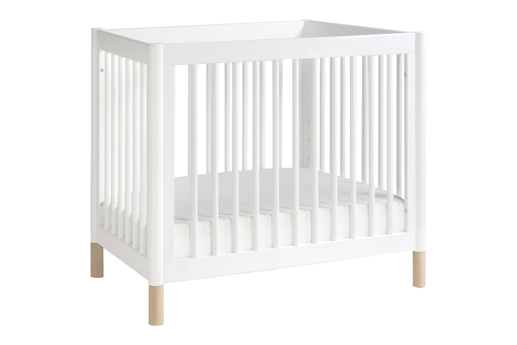 M12998WNX, Gelato 2-in-1 Mini Crib in White with Washed Natural at angle