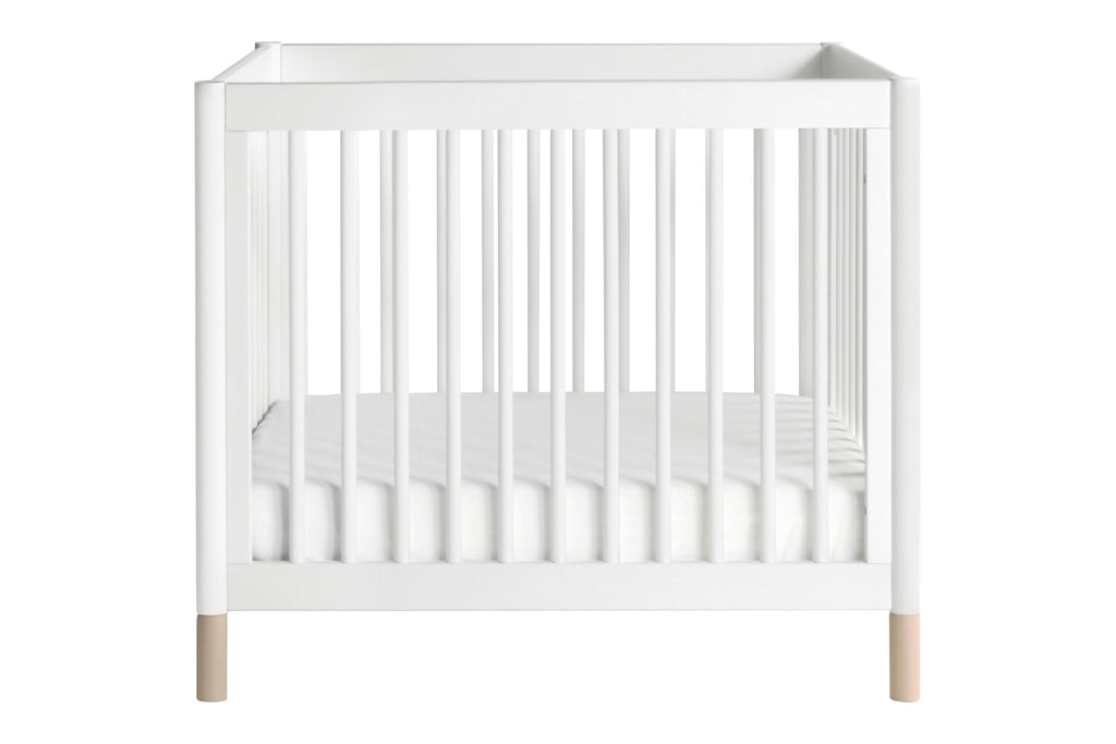 M12998WNX, Gelato 2-in-1 Mini Crib in White with Washed Natural Feet from front