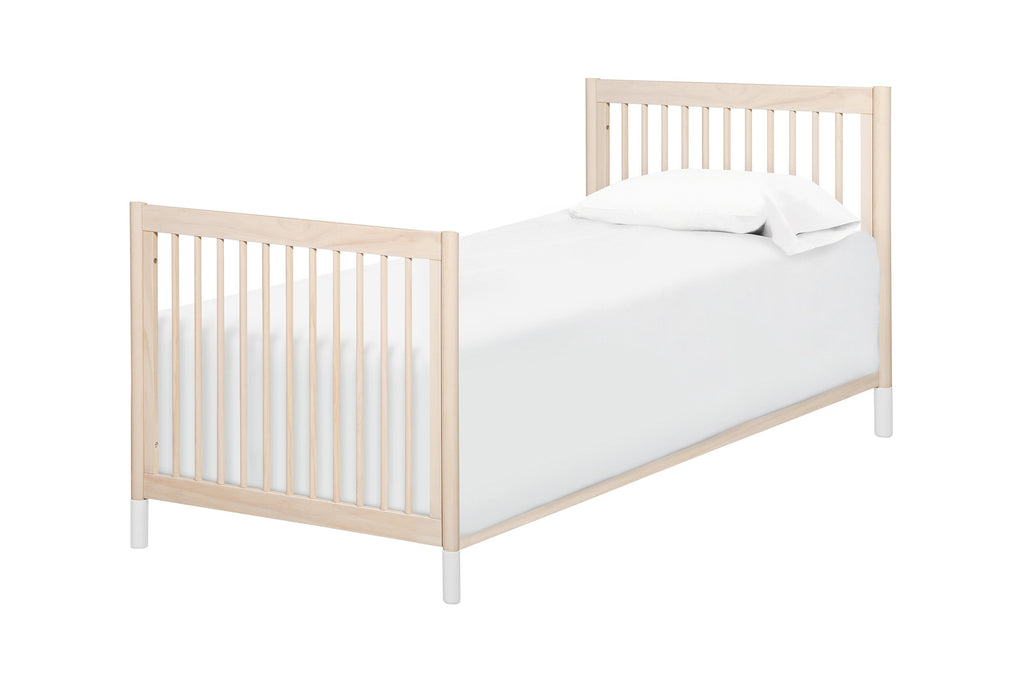 M12998NXW, Gelato 2-in-1 Mini Crib in Washed Natural with White Feet, Twin Size Bed Conversion