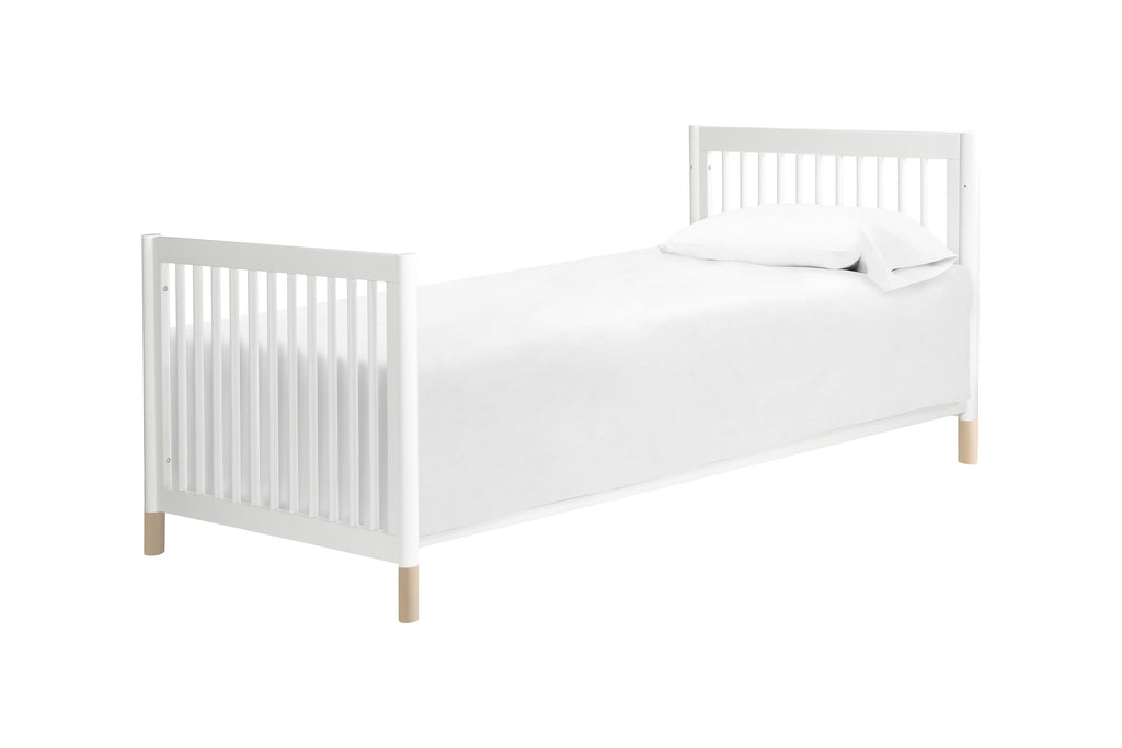 M12998WNX, Gelato 2-in-1 Mini Crib in White with Washed Natural Feet, Twin Size Bed Conversion