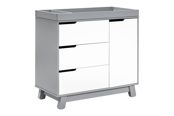 babyletto modern Hudson 3-Drawer Changer Dresser  KD w/Removable Changing Tray in Grey/White