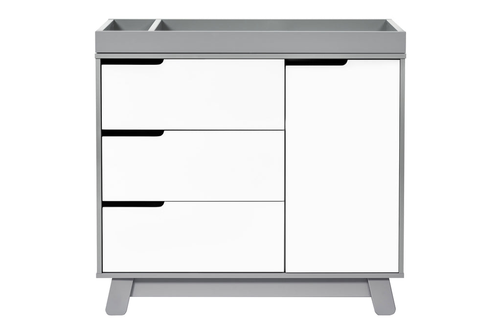 M4223GW,Hudson 3-Drawer Changer Dresser  KD w/Removable Changing Tray in Grey/White