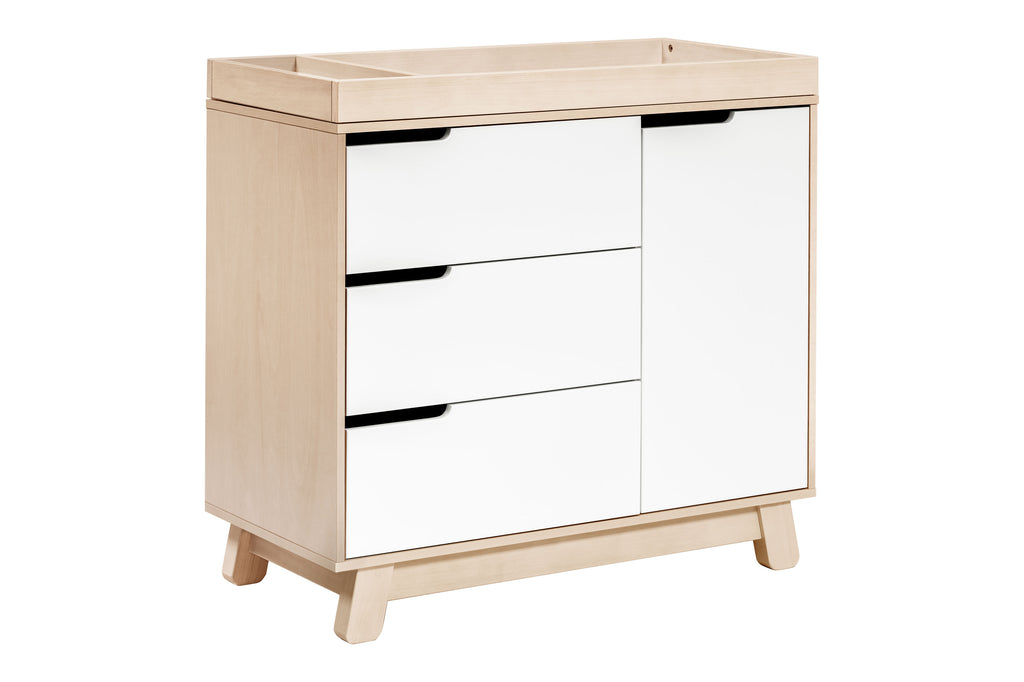 M4223NXW,Hudson 3-Drawer Changer Dresser  KD w/Removable Changing Tray in Washed Natural/White