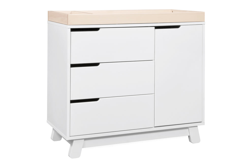 M4223WNX,Hudson 3-Drawer Changer Dresser  KD w/Removable Changing Tray in White/Washed Natural