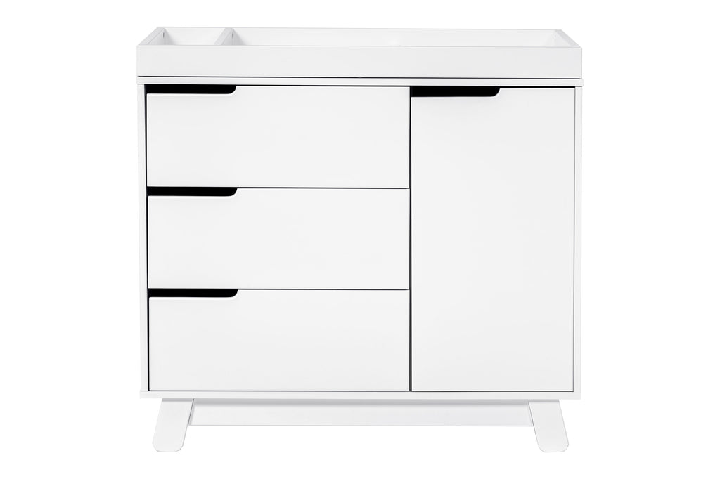 M4223W,Hudson 3-Drawer Changer Dresser KD w/Removable Changing Tray In White