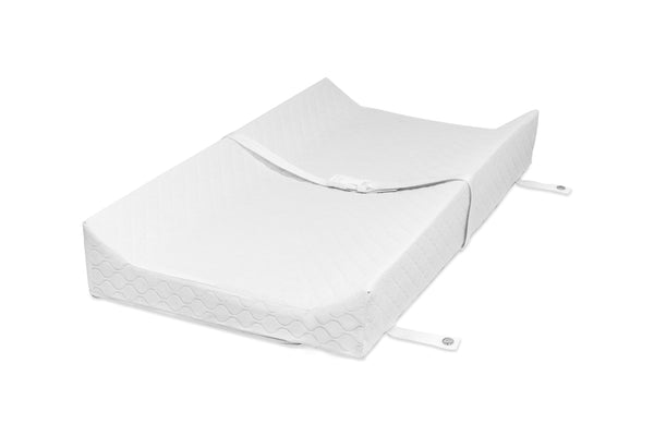 M5319BL, Pure 31 inch Non-Toxic Contour Changing Pad Cover at angle, babyletto non toxic hypoallergenic