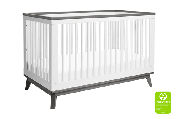 Scoot 3-in-1 Convertible Crib w/Toddler Bed Conversion Kit in White&Slate Finish
