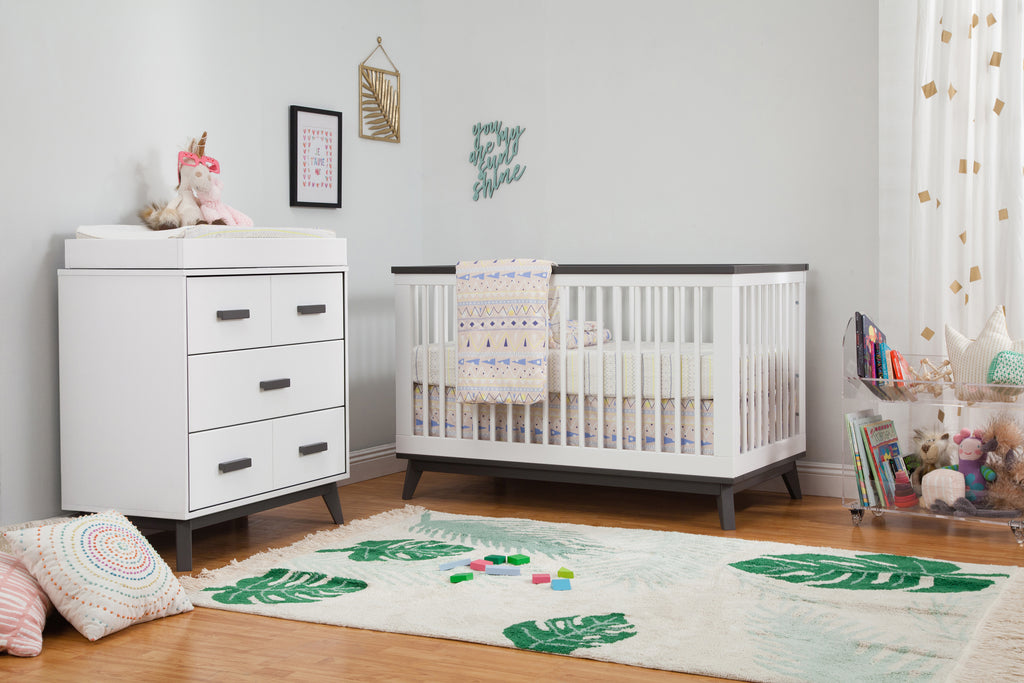 M5801WSL,Scoot 3-in-1 Convertible Crib w/Toddler Bed Conversion Kit in White&Slate Finish