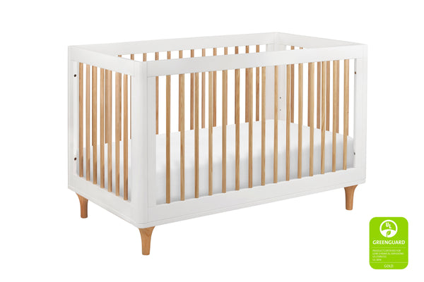 babyletto modern Lolly 3-In-1 Convertible Crib with Toddler Bed Conversion in Grey/Washed Natural White / Natural