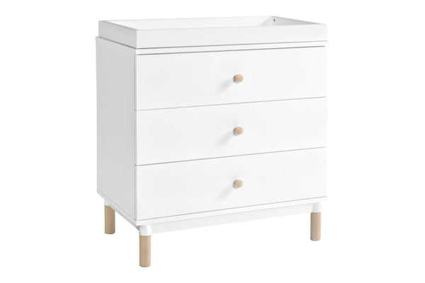 modern Gelato 3-Drawer Changer Dresser  White Color Feet w/Removable Changing Tray In Washed Natural 白色 / 洗水原色