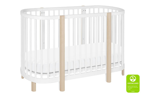M13001W,Hula Convertible Oval Crib and Mini W/ Mini Pad in White Finish 白色 / 洗水原色