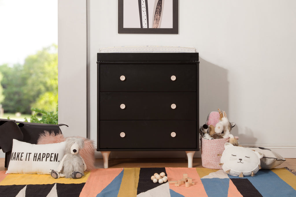 M9023BNX,Lolly 3-Drawer Changer Dresser  KD w/Removable Changing Tray in Black/Washed Natural