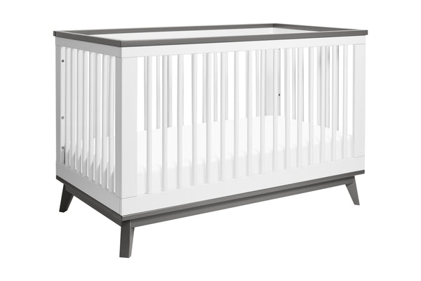 Scoot 3-in-1 Convertible Crib w/Toddler Bed Conversion Kit in White&Slate Finish White / Slate