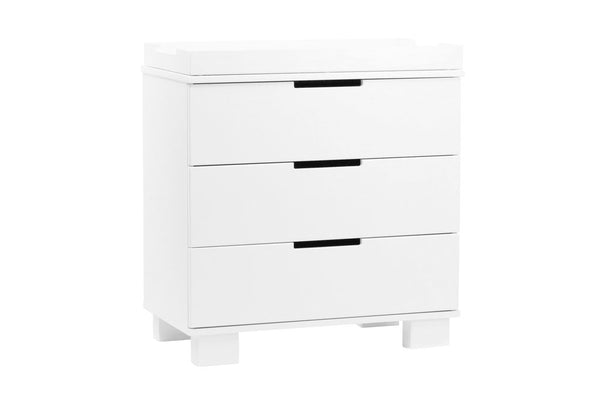 M6723GW,Modo 3-Drawer Changer Dresser  KD w/Removable Changing Tray in Grey and White White