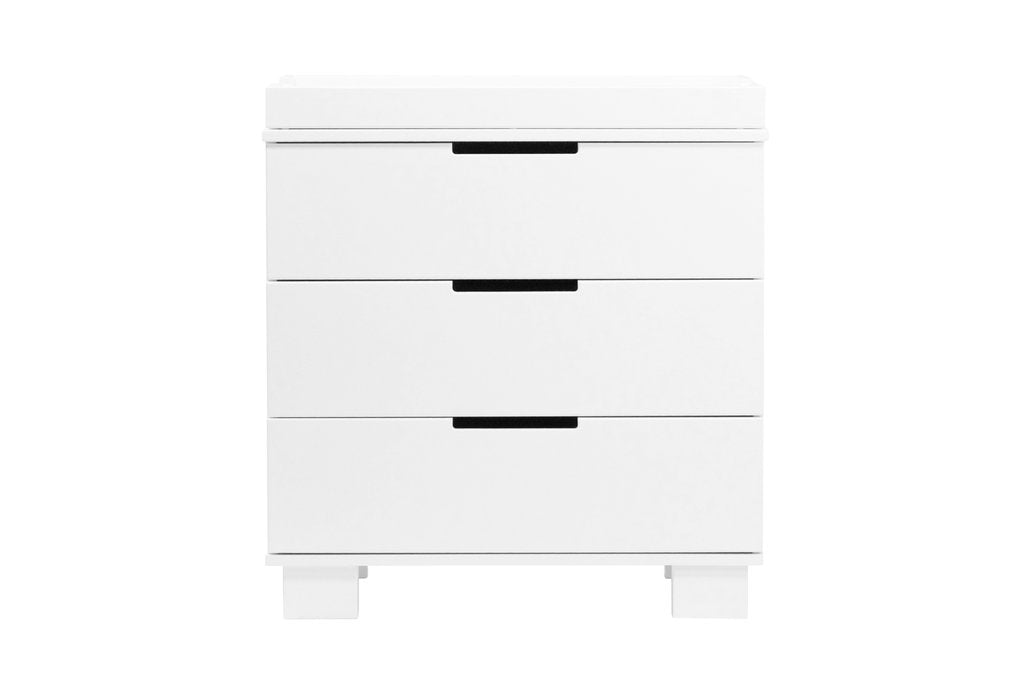 M6723W,Modo 3-Drawer Changer Dresser  KD w/Removable Changing Tray in White