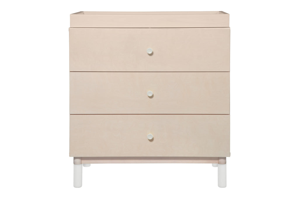 M12923NXW,Gelato 3-Drawer Changer Dresser  White Color Feet w/Removable Changing Tray In Washed Natural