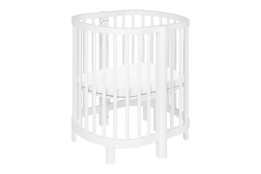 M13001W,Hula Convertible Oval Crib and Mini W/ Mini Pad in White Finish