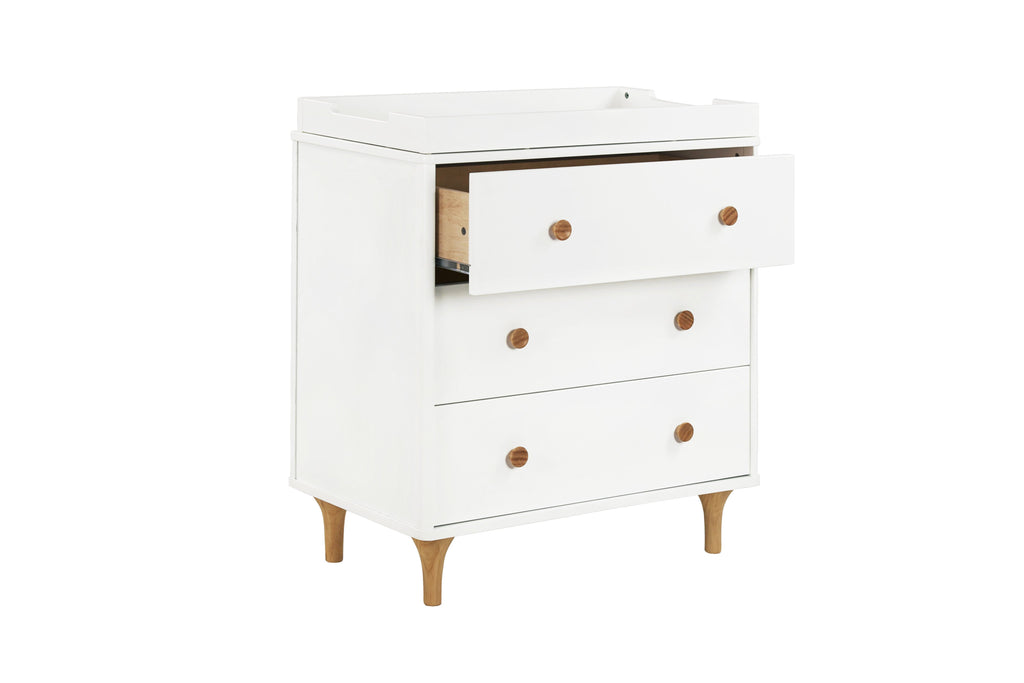 M9023WN,Lolly 3-Drawer Changer Dresser  KD w/Removable Changing Tray in White/Natural