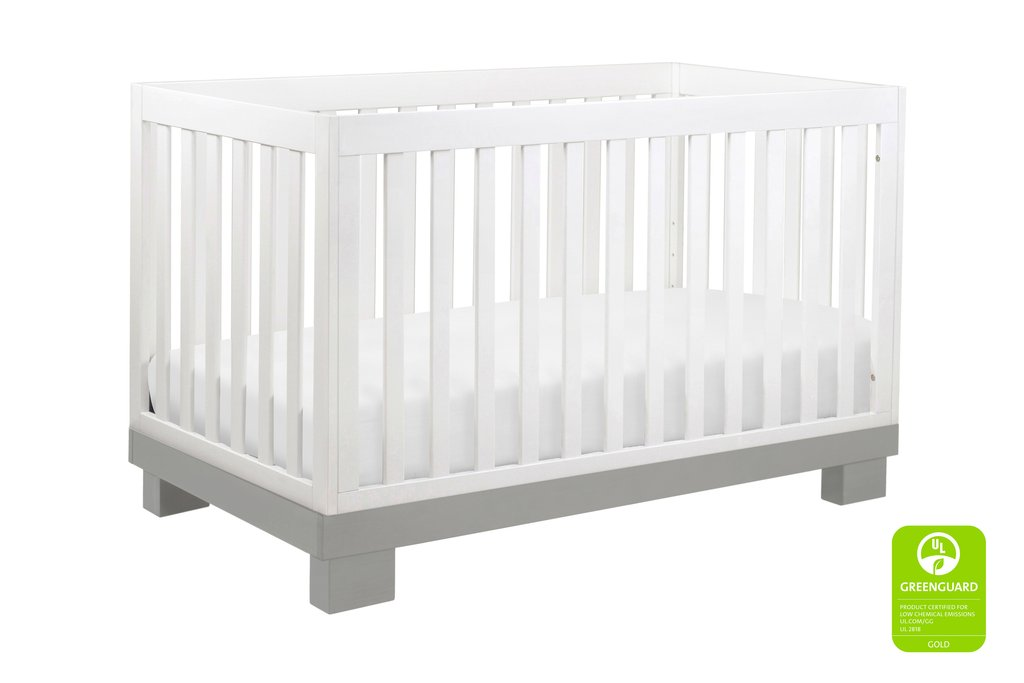M6701GW,Modo 3-in-1 Convertible Crib with Toddler Bed Conversion Kit in Grey and White