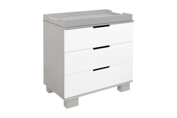 M6723GW,Modo 3-Drawer Changer Dresser  KD w/Removable Changing Tray in Grey and White