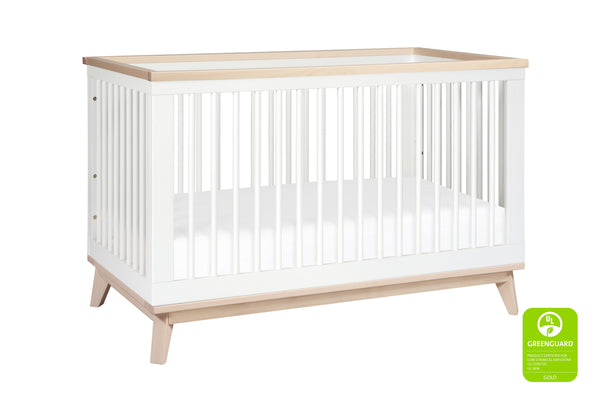 Scoot 3-in-1 Convertible Crib w/Toddler Bed Conversion Kit in White&Slate Finish White / Washed Natural