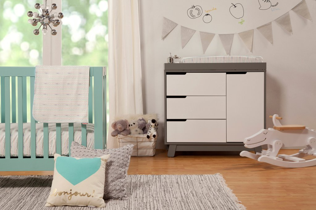 M6698LG,Origami Mini Crib In Lagoon Finish