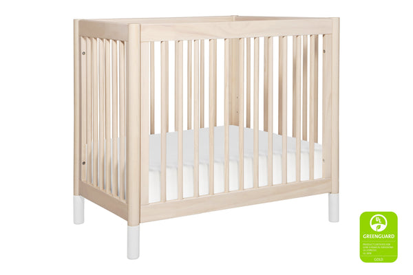 Babyletto modern Gelato 2-in-1 Mini Crib and Twin Bed Conversion, in Washed Natural with White Feet - modern convertible mini crib, bassinet alternative 洗水原色 / 白色