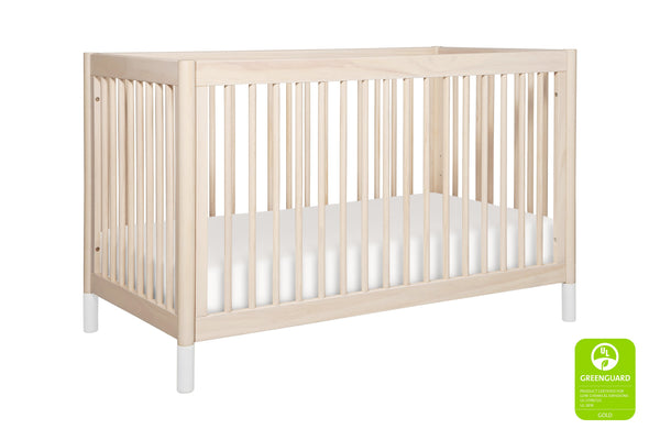 modern Gelato 4-in-1 Convertible Crib  White Color Feet With Toddler Bed Conversion Kit in Washed Natural