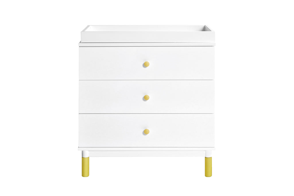 M12923WNX,Gelato 3-Drawer Changer Dresser  Washed Natural Kb w/Removable Changing Tray In White