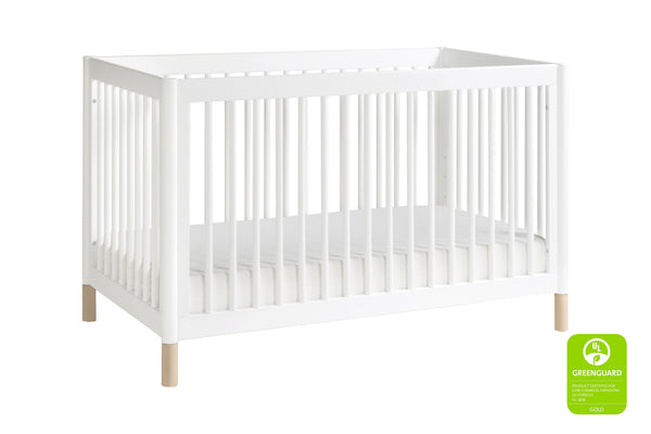 modern Gelato 4-in-1 Convertible Crib  White Color Feet With Toddler Bed Conversion Kit in Washed Natural 白色 / 洗水原色