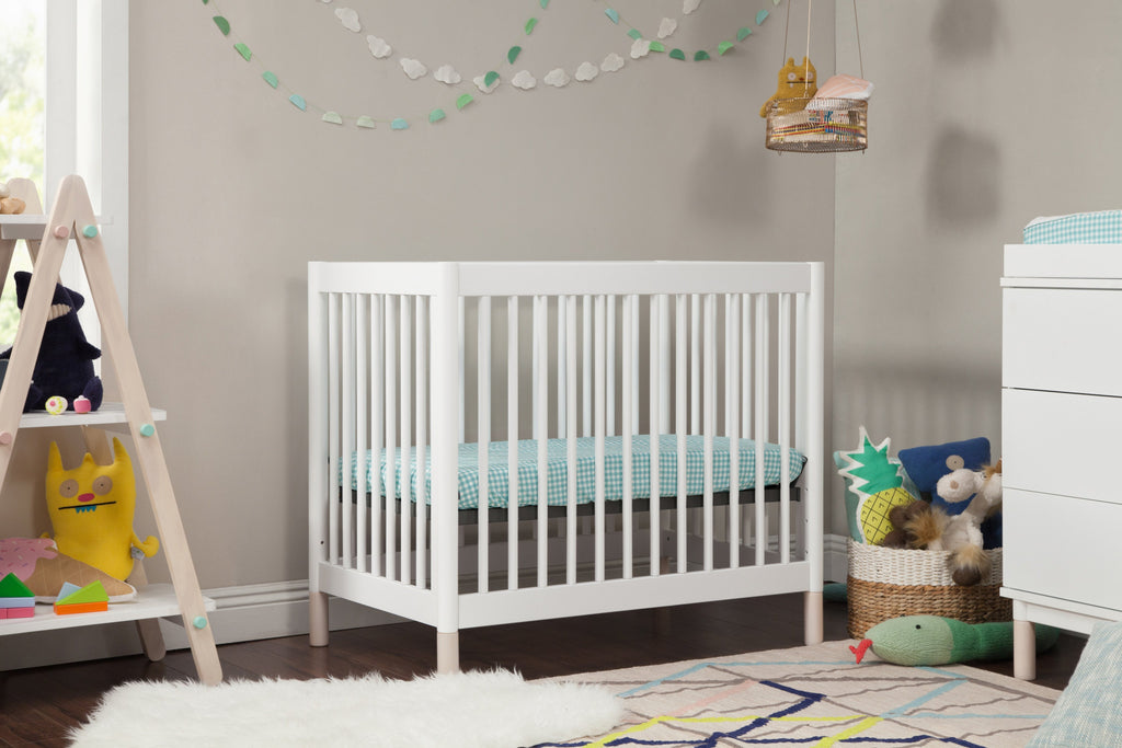 M12998WNX,Gelato 2-in 1 Mini Crib and Twin bed White Finish with Washed Natural Feet