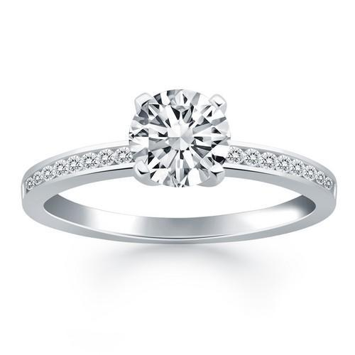 14k White Gold Engagement Ring with Diamond Channel Set Band, size 5.5