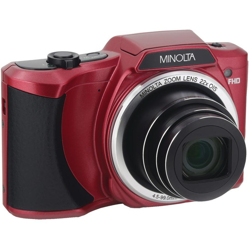 MINOLTA MN22Z-R 20.0-Megapixel 1080p Full HD Wi-Fi(R) MN22Z Digital Camera with 22x Zoom (Red)