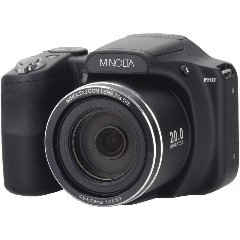 MINOLTA MN35Z-BK 20.0-Megapixel 1080p Full HD Wi-Fi(R) MN35Z Bridge Camera with 35x Zoom (Black)
