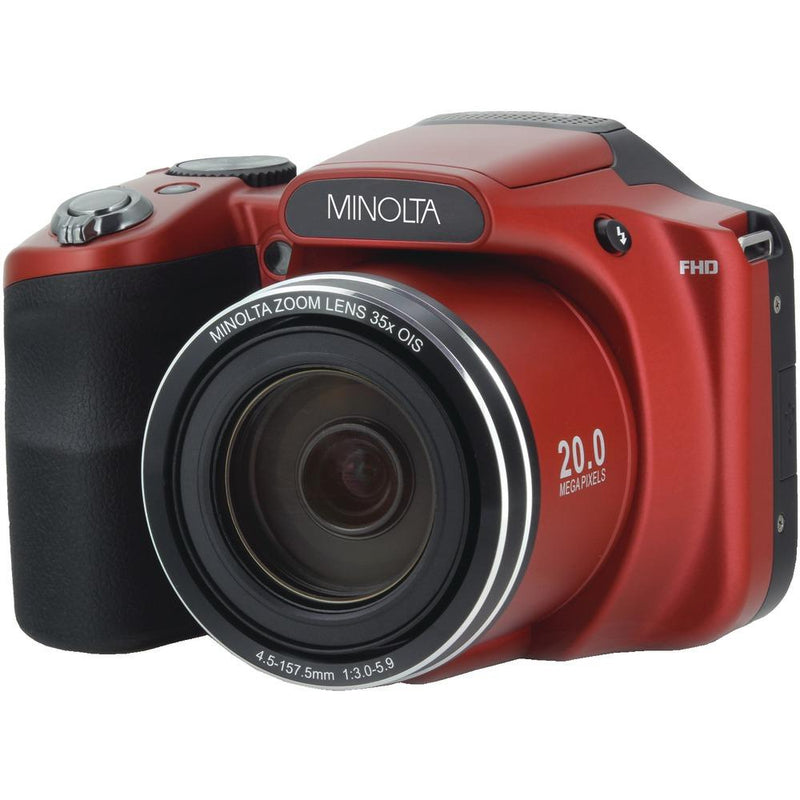 MINOLTA MN35Z-R 20.0-Megapixel 1080p Full HD Wi-Fi(R) MN35Z Bridge Camera with 35x Zoom (Red) | Kipe it