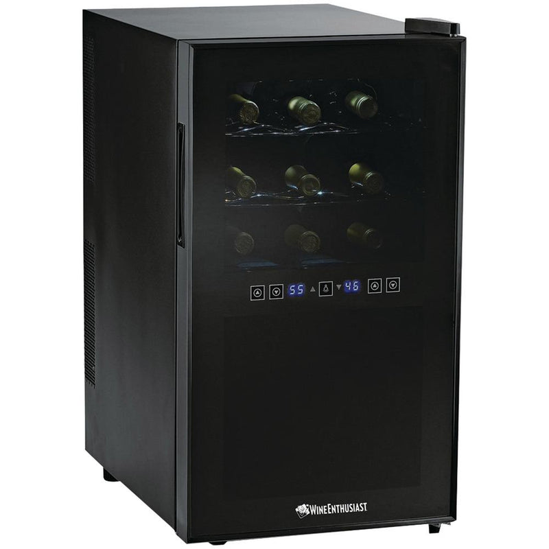 WINE ENTHUSIAST 2720318 Silent 18-Bottle Dual-Zone Touchscreen Wine Cooler
