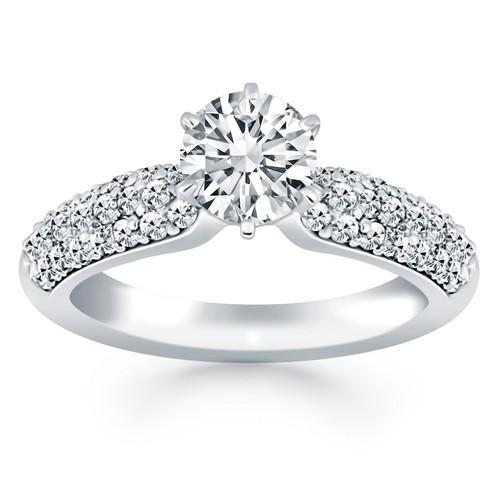 14k White Gold Triple Row Pave Diamond Engagement Ring, size 7 | Kipe it