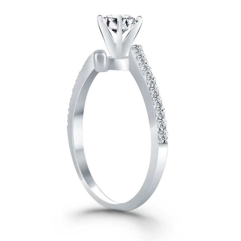 14k White Gold Open Shank Bypass Diamond Engagement Ring, size 5.5 | Kipe it