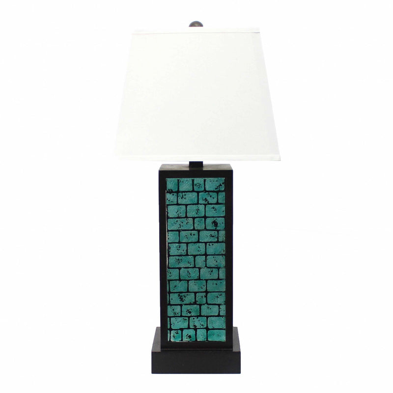 "31"" X 31"" X 8"" Black Contemporary Metal Table Lamp With  Teal Brick Pattern 