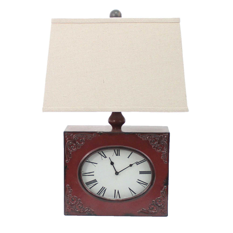 "22"" X 22"" X 7"" Red Vintage Table Lamp With Metal Clock Base 