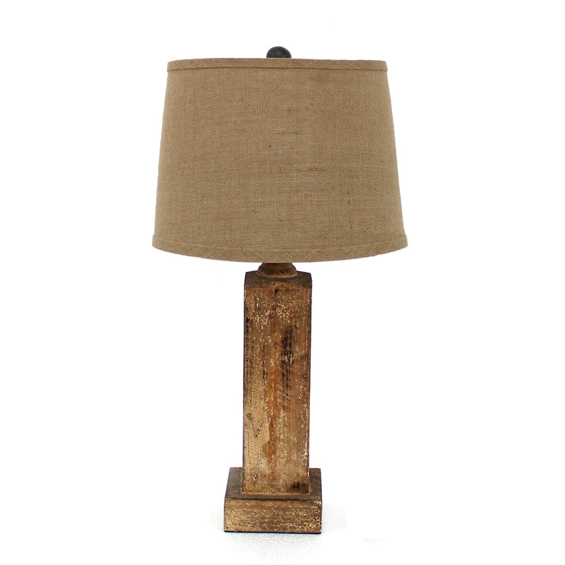 "27"" X 27"" X 8"" Brown Rustic Table Lamp With Round Linen Shade 