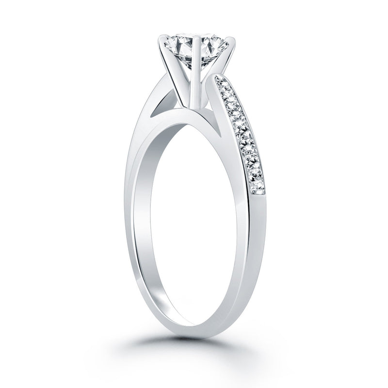 14k White Gold Cathedral Engagement Ring with Pave Diamonds, size 5 | Kipe it